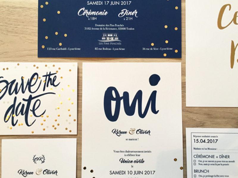 K&O wedding stationary